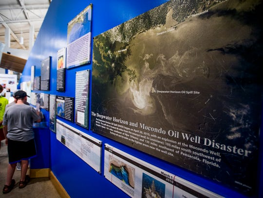 An exhibit on the Deepwater Horizon oil spill at The Estuarium on Dauphin Island, Ala., on Tuesday July 26, 2018.  on Dauphin Island, Ala., on Tuesday July 26, 2018.