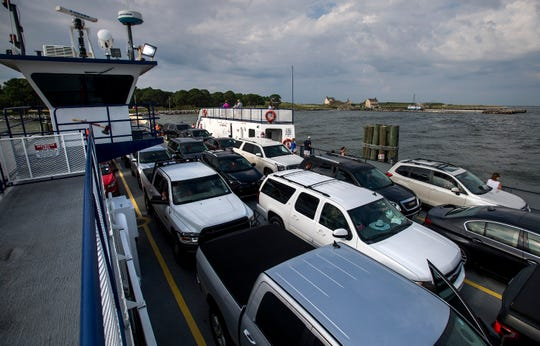 The Mobile Bay Ferry leaving Mobile Point near Gulf Shores, Ala.