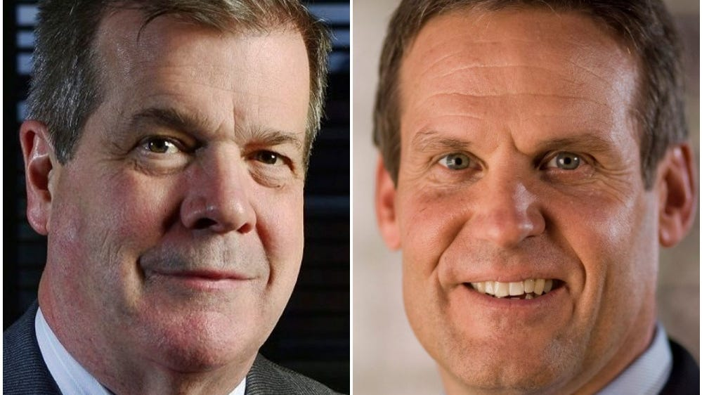Democrat Karl Dean, left, and Republican Bill Lee face each other in the Nov. 6 governor's election.