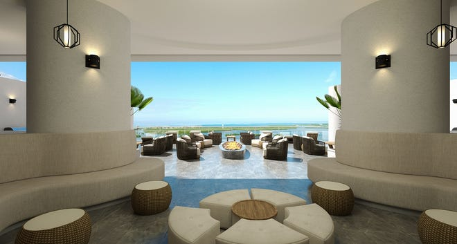Omega's rooftop terrace common area will include two hot tubs positioned next the terraces' glass railing, allowing residents to relax while enjoying water and sunset views.