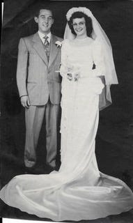 Wedding photo of Charles and Evelyn Winegardner from 1948. On August 8th, they will be celebrating their 70th anniversary.