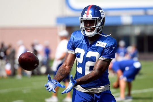 New York Giants runningback Wayne Gallman (22) catches the ball during NFL training camp in East Rutherford, NJ on Tuesday, August 7,  2018.