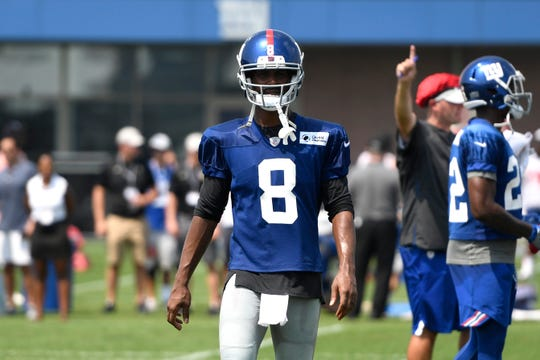 New York Giants wide receiver Russell Shepard (8) during NFL training camp in East Rutherford, NJ on Tuesday, August 7, 2018.