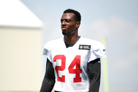 New York Giants cornerback Eli Apple (24) on the field during NFL training camp in East Rutherford, NJ on Tuesday, August 7, 2018.