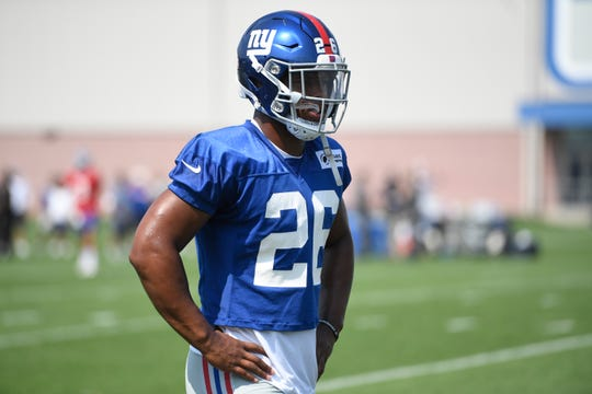 New York Giants rookie runningback Saquon Barkley on the field during NFL  training camp in East 9ba2d72cf