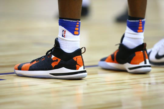 Jul 7, 2018; Las Vegas, NV, USA; Detailed view of the Nike Air Jordan basketball shoes worn by New York Knicks center Mitchell Robinson against the Atlanta Hawks during an NBA Summer League game at the Thomas & Mack Center. Mandatory Credit: Mark J. Rebilas-USA TODAY Sports