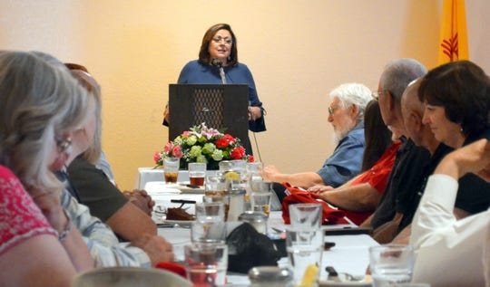 New Mexico Gov. Susana Martinez addresses the lunch crowd at the la Fonda Restaurant Banquet Room on Tuesday, Aug. 7, 2018.