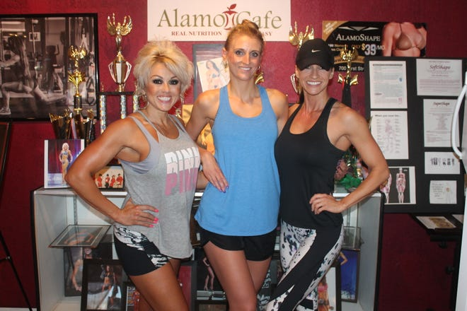 From left to right, Krystal McCloud, Samantha Howard, and Dena Curran train together at AlamoShape and will be competing on Saturday in the NPC Sun City Regional National Qualifier.