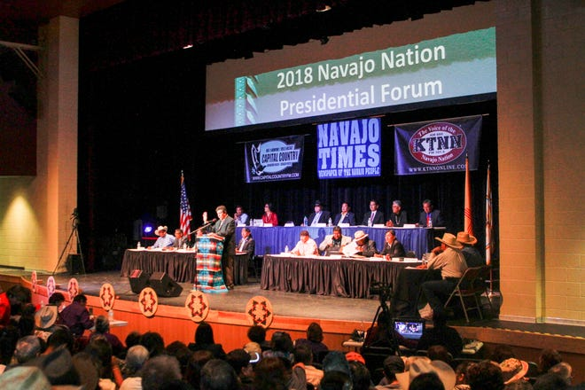 Navajo Times publisher Tom Arviso Jr. speaks during the Navajo Nation presidential candidates forum Monday at the Phil L. Thomas Performing Arts Center in Shiprock.