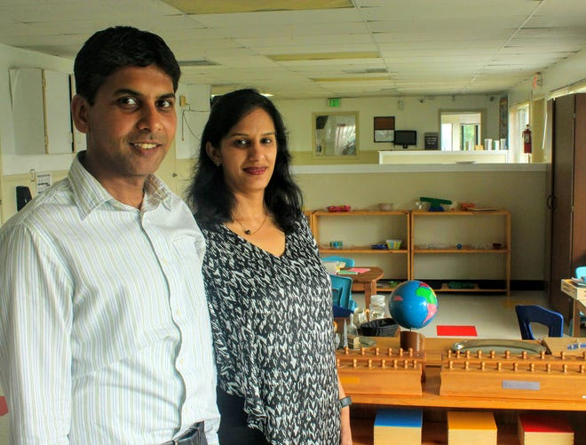 Husband and wife team Anand Bora (left) and Chaitali Gandhi will open Habitot Montessori and Childcare Center in Westland this fall. The couple, who live in Farmington Hills, decided they wanted to open a Montessori school in Westland and have worked getting the school ready for nearly a year.