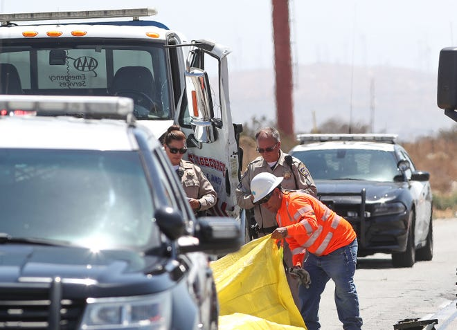A tow truck driver was killed while working along the I-10 westbound shouder near Cabazon, August 7, 2018.