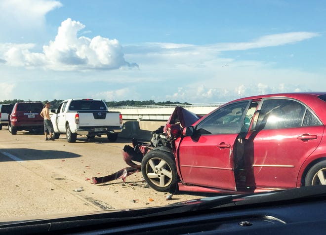 An accident on the northbound side of Pensacola Bay Bridge has traffic backed up between Gulf Breeze and Pensacola on Tuesday.