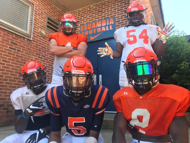 Escambia leaders (back row, L to R) Noah Lord, Aric Harris (front row, L to R) Frank Peasant, AV Smith and PJ Sanders plan to make their squad the best in the area this season.