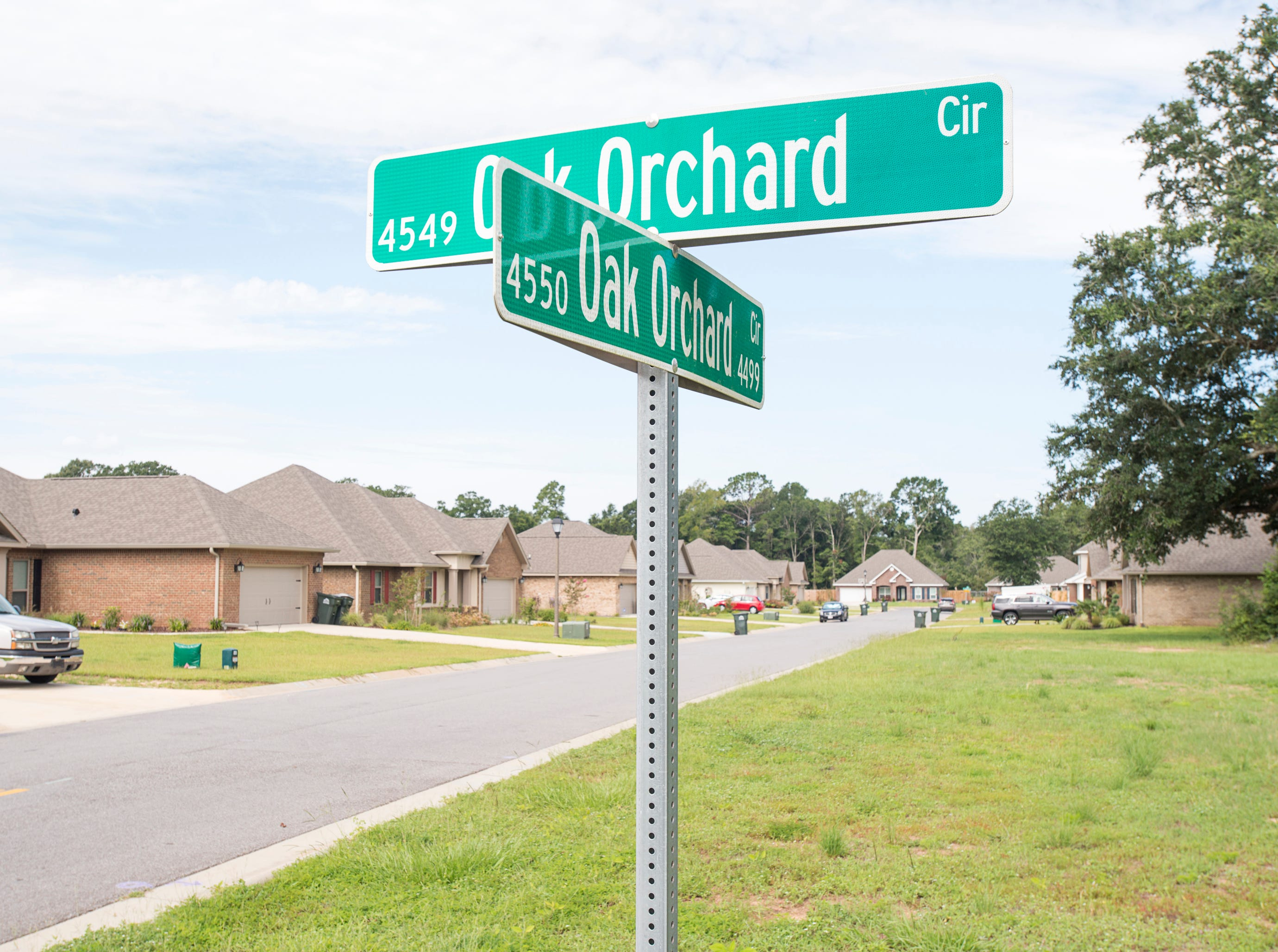 Oak Orchard Circle in the new subdivision of Heritage Estates in Pace's District 1 on Tuesday, August 7, 2018.