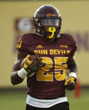 ASU's Trelon Smith (25) runs during a practice at Kajikawa Football Practice Fields in Tempe, Ariz. on Aug. 6, 2018.