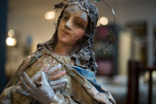 A paper mache statue of the Madonna July 26, 2018, at Relics Architectural Home & Garden in Phoenix.