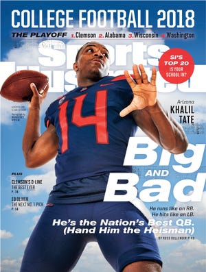 Arizona QB Khalil Tate on cover of Sports Illustrated to preview the 2018 seaason.