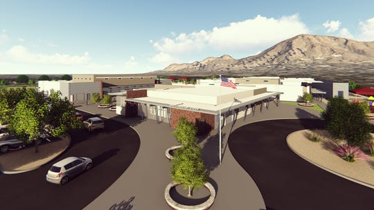 A rendering of the rebuilt Hopi Elementary School. The school opened for the first day of classes on Aug. 7, but work on the school's gymnasium and cafeteria will continue through January.