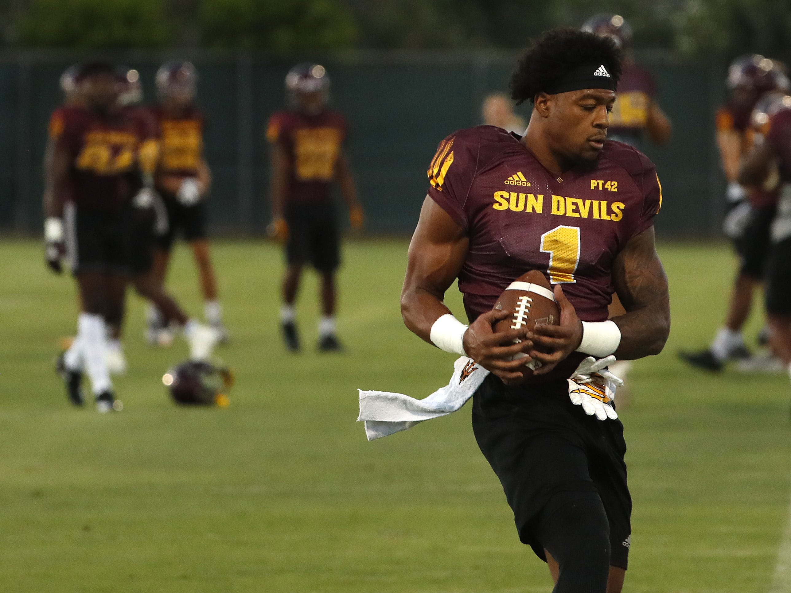 ASU's N'Keal Harry (1) makes a catch during a practice at Kajikawa Football Practice Fields in Tempe, Ariz. on Aug. 6, 2018.
