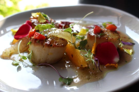 Citrus and scallops at St. Amand Kitchen and Cocktails in Chandler.