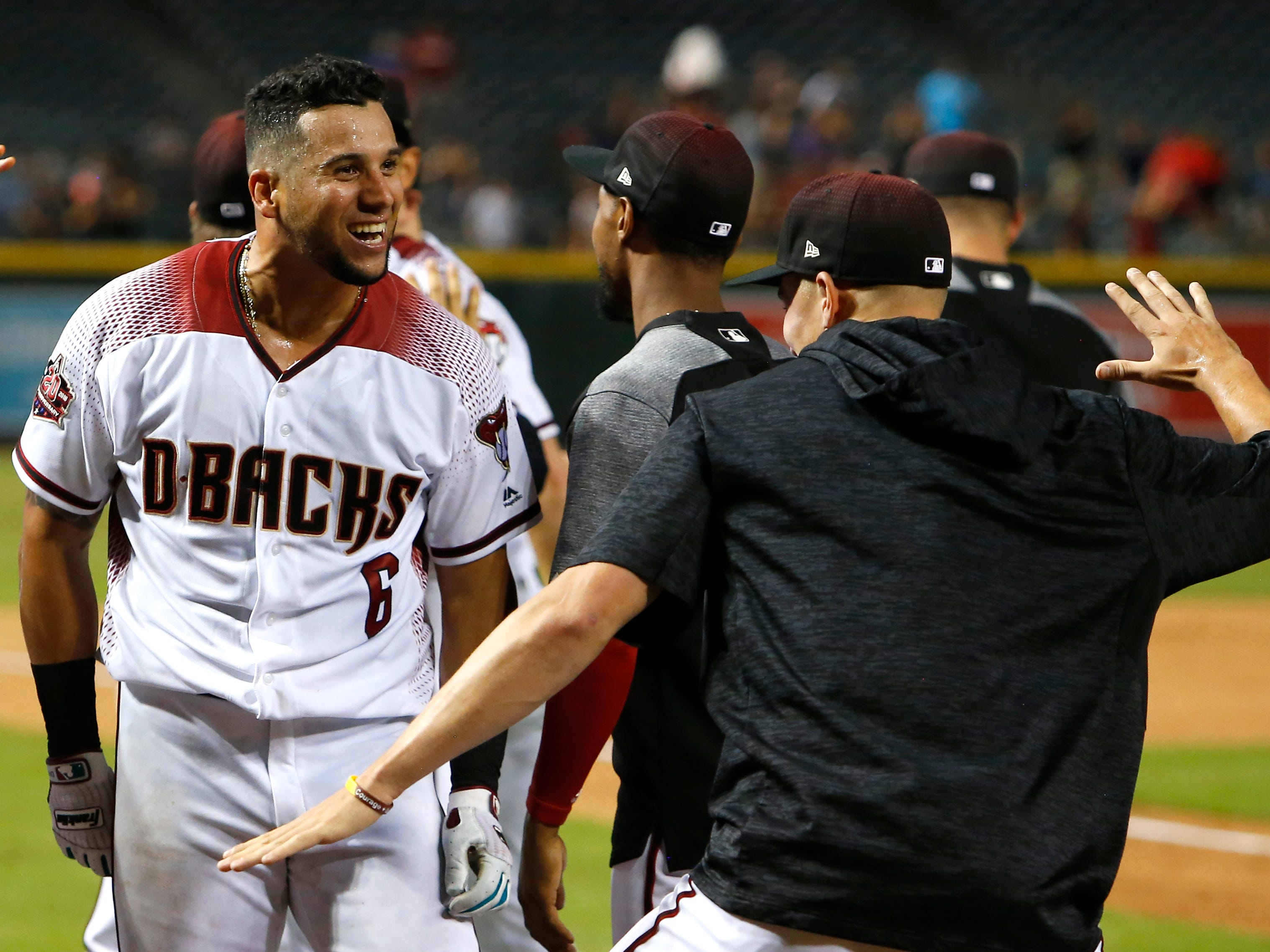 Arizona Diamondbacks right fielder David Peralta (6) in the 13th inning during a baseball game against the Philadelphia Phillies, Monday, Aug. 6, 2018, in Phoenix. (AP Photo/Rick Scuteri)