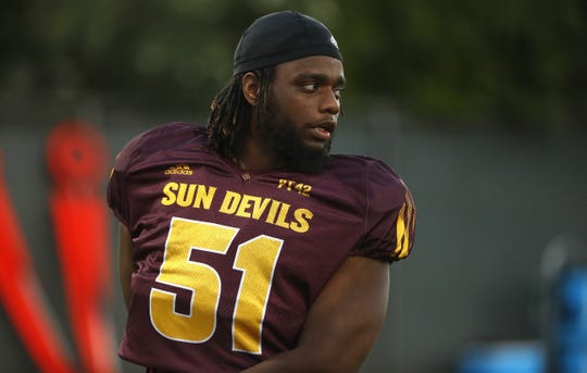Offensive lineman Zach Robertson, shown here before a 2018 practice, spent four seasons with Arizona State before taking off a season, then transferring to UL.