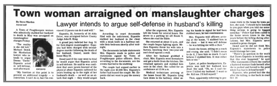 "A screen shot of the Poughkeepsie Journal's front page on Sept. 16, 1989. Donna ""Dawn"" Esposito pleaded guilty to criminally negligent homicide in the stabbing death of her husband, Daniel. Esposito was reportedly abused by her husband."