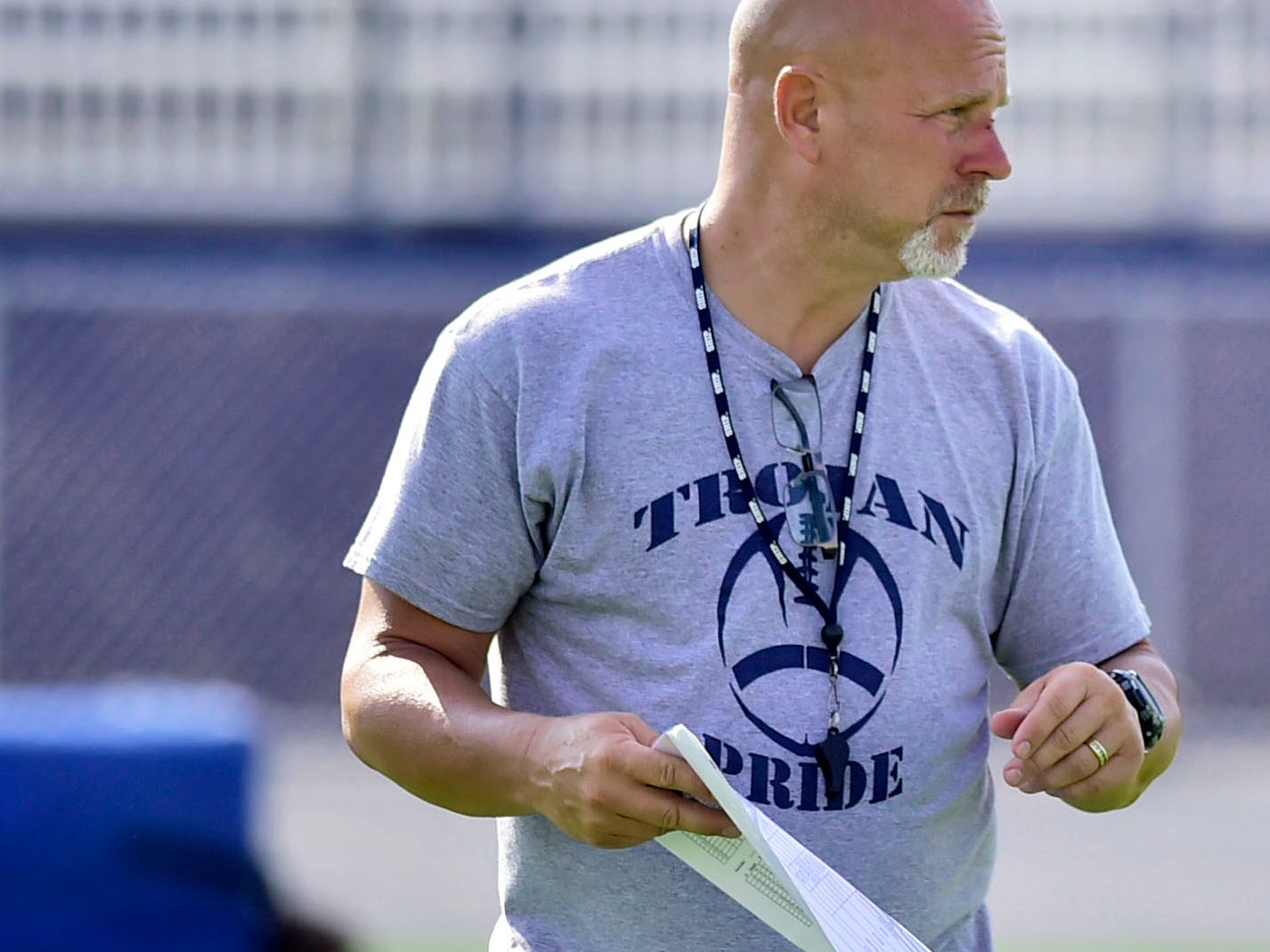 Chambersburg coach Mark Luther coaches the Trojans in their first week of practice. Chambersburg Trojans opened fall practice, the week of August 6, 2018, for the upcoming football season.