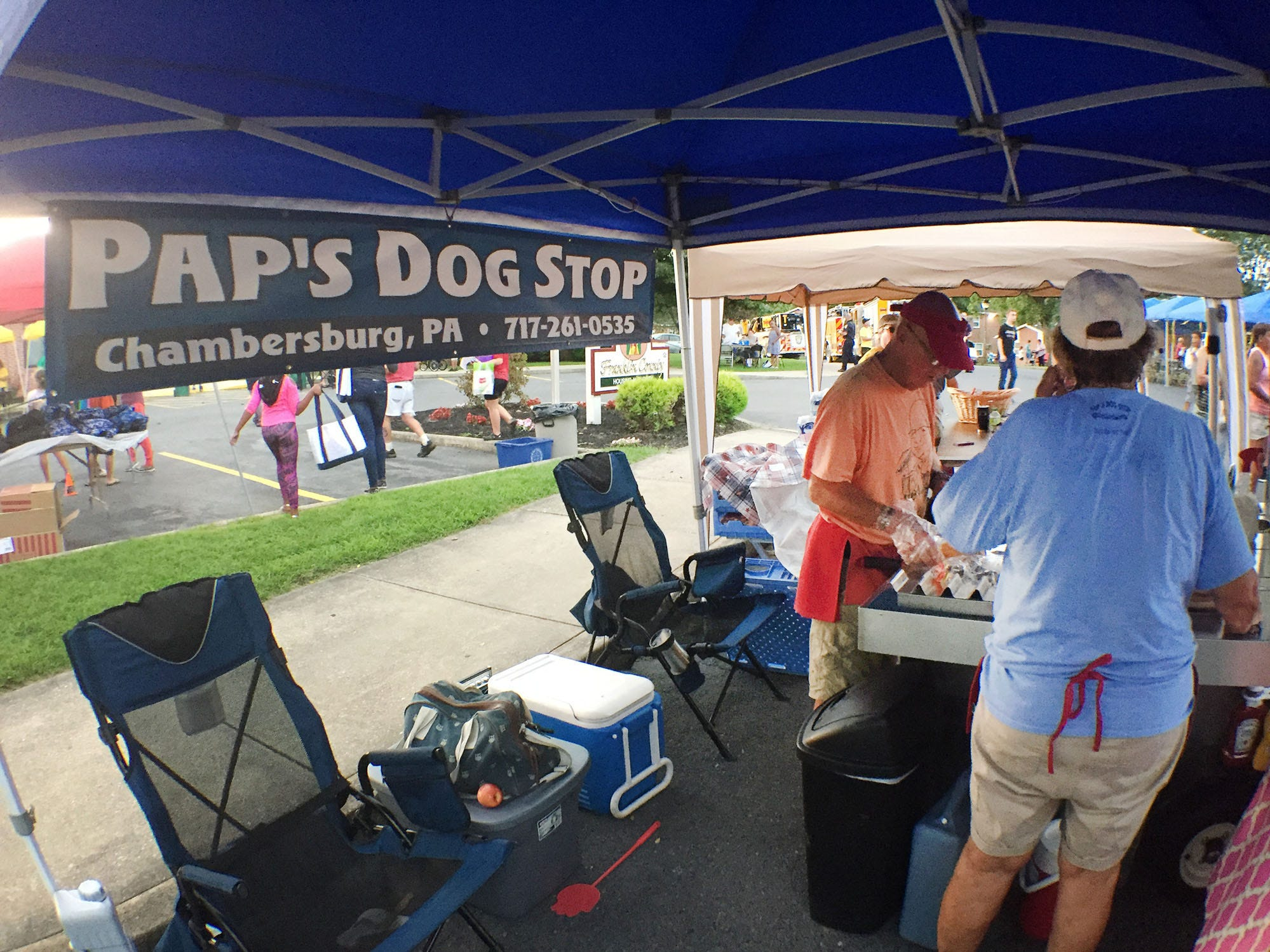 Pap's Dog Stop serves up free hot dogs. Chambersburg Police Department National Night Out was held Tuesday, August 7, 2018 at the Franklin County Housing Authority complex. The annual event is designed to have community members get a chance to meet first responders.