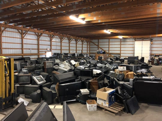 The warehouse at the Washington Township Recycling Center was nearly full of televisions and other electronic devices in August 2018 when supervisors suspended the electronics recycling program.