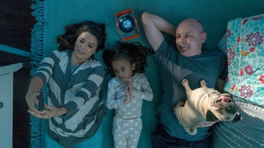 """From left, Eva Longoria as Grace, Elizabeth Caro as Amelia and Rob Corddry as Kurt in the film """"Dog Days."""" The movie is playing at Regal West Manchester Stadium 13 and Frank Theatres Queensgate Stadium 13."""