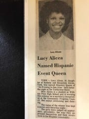 "A 1982 article in The York Dispatch reporting the winner of the ""Hispanic Queen of York"" contest."