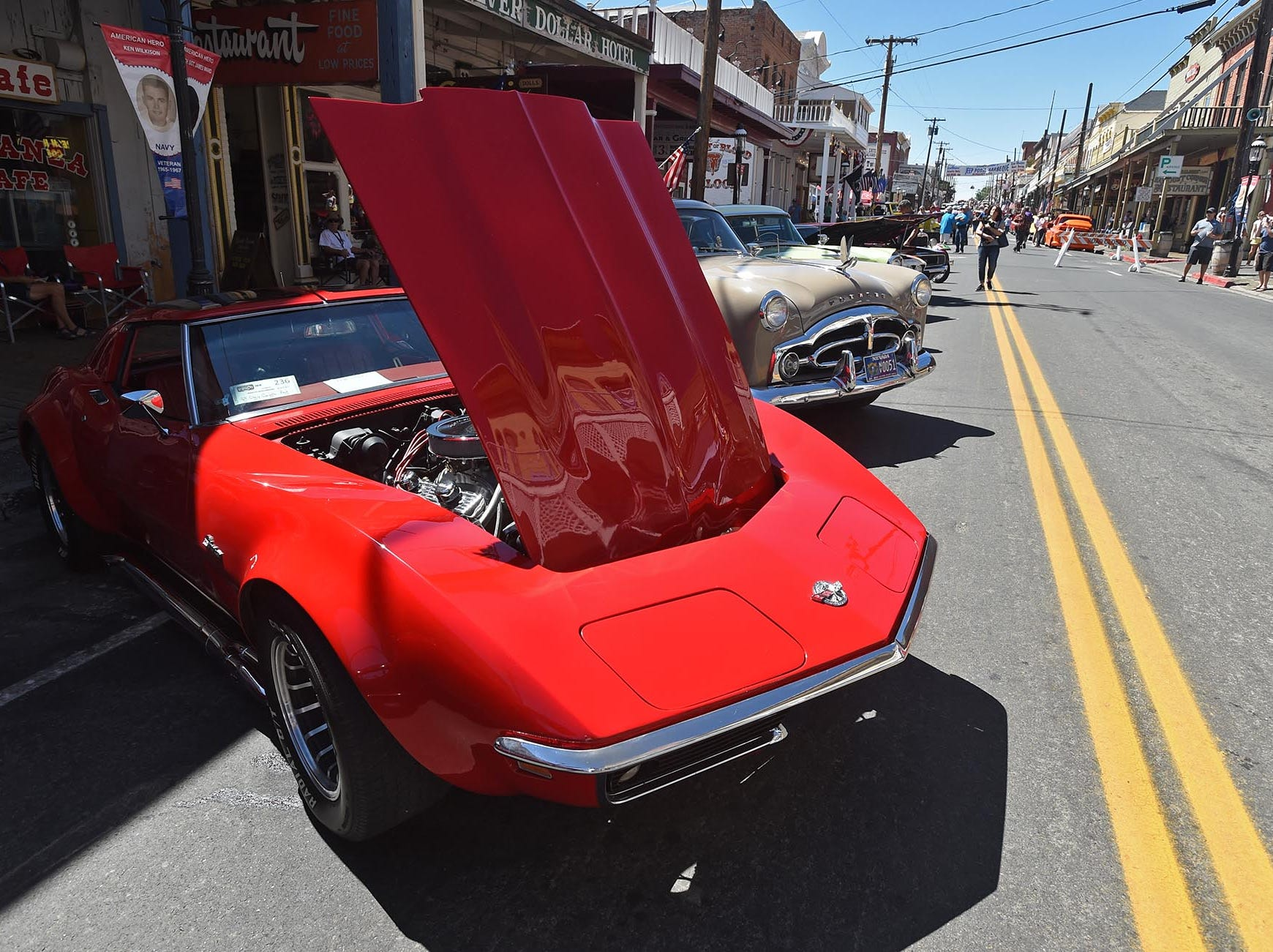 Classic cars line the streets of Virginia City on Friday, Aug. 3, 2018 as Hot August Nights gets rolling.
