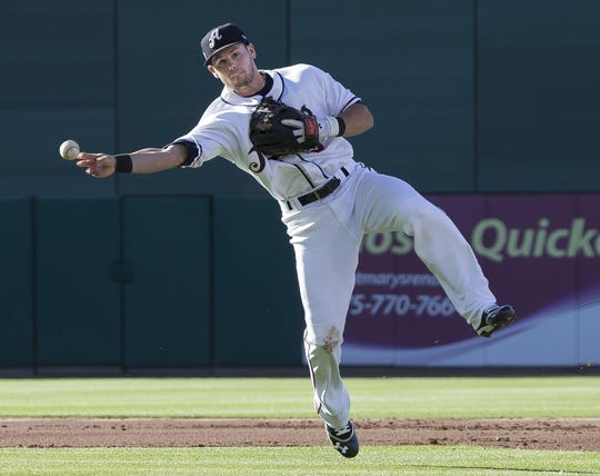 Aces shortstop Chris Owings makes the throw to frist during the Triple-A All-Star game played on Wednesday night, July 17, 2013 at Aces Ballpark in Reno, Nevada.