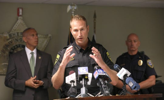 Livingston County Sheriff Thomas J. Dougherty gives an update on fugitive David Clyde Morgan during their media briefing at the Livingston County Sheriff's Office in Geneseo Tuesday, Aug. 7, 2018.