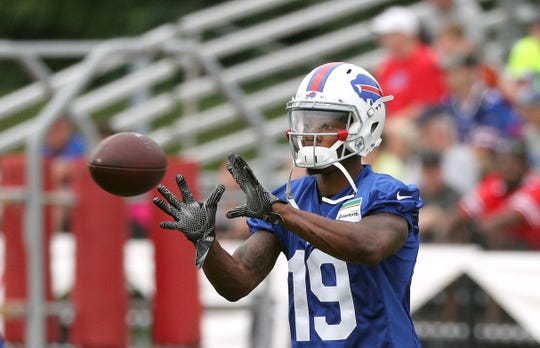 Newly acquired receiver Corey Coleman catches passes  during his first practice with the Bills after coming over from Cleveland in a trade.