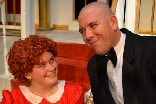 "Andrea Isaacs plays Annie and Lance Turner portrays Oliver Warbucks in Angelo Civic Theatre's production of ""Annie."""
