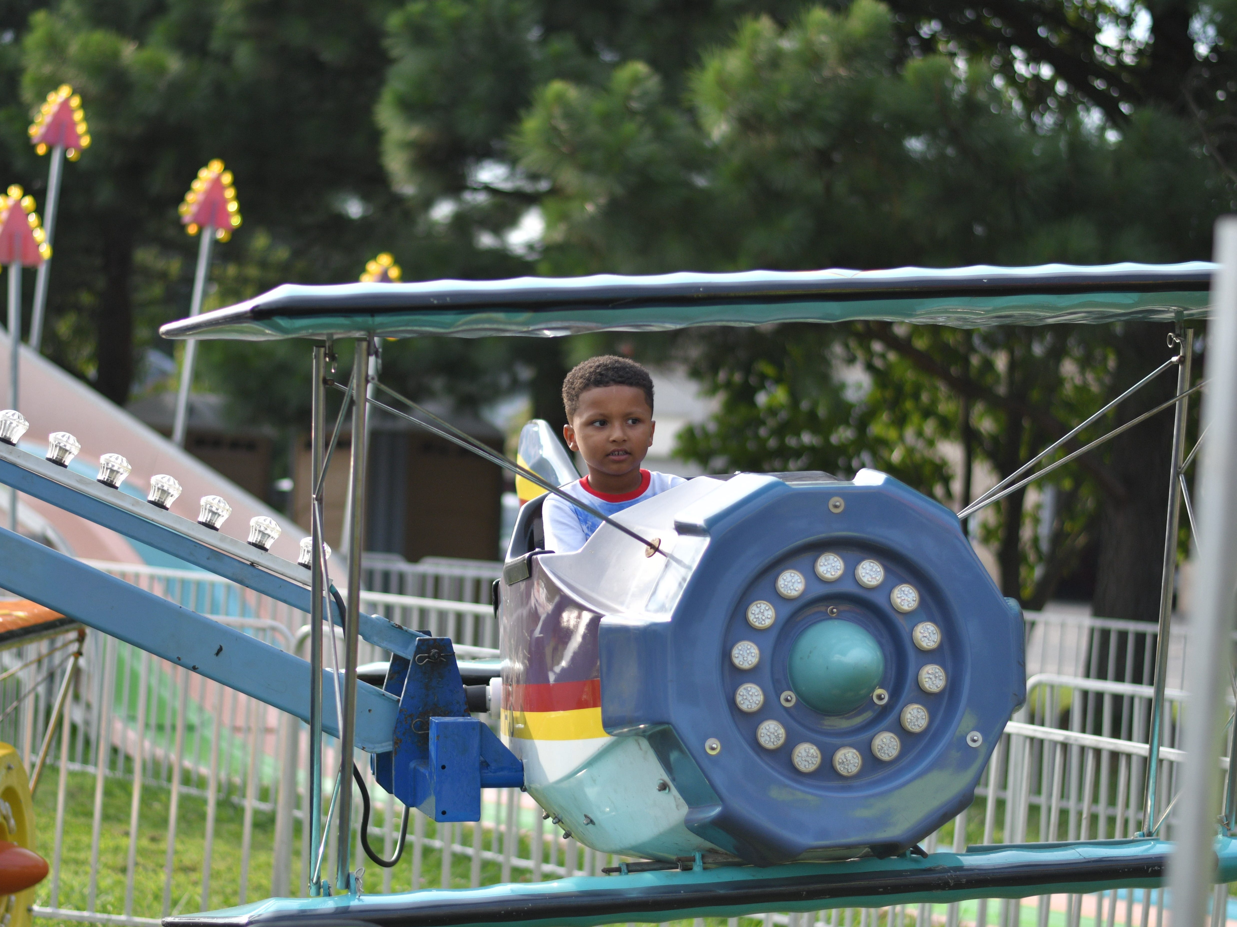 Antonio Robinson Jr.gets ready to take flight during the Cape Charles Volunteer Fire Company Carnival.