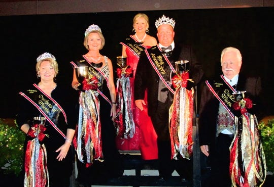 Krewe Artemis-Springhill 2019 court presented at its royalty coronation: Duchess of Music Debbie Cody, (clockwise from far left) Queen XVII Kari Dinkins, Captain Diane Marie, King Kevin Dinkins, Duke of Music David Jeane.
