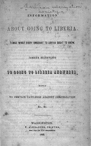 1848 Liberia information Pamphlet.