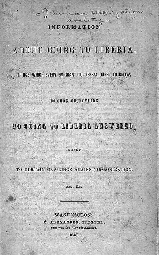 About Going To Liberia Pamphlet 1848