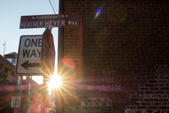 An alley in Charlottesville was memorialized for Heather Heyer, who lost her life there last year when a car drove into a crowd of people protesting white supremacists.