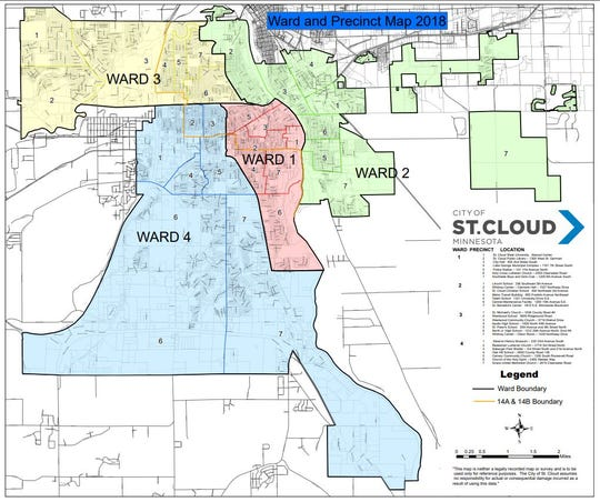 St. Cloud is divided into four wards. The City Council has four ward members — one from each ward — and three at-large members. The four ward seats are up for election in November.