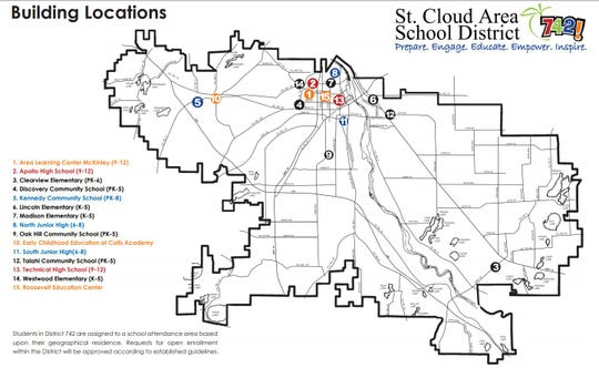 The St. Cloud school district is the 15th largest in Minnesota , covering 250 square miles throughout four counties.