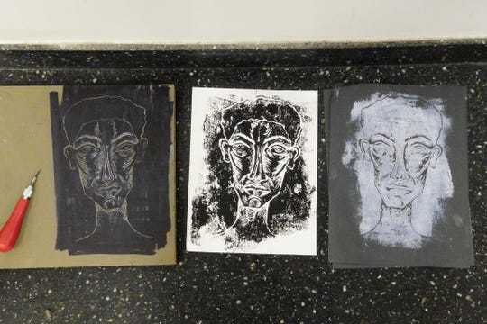 Inspired by Henry Steele's story, Mariama Janneh created prints from a hand-carved linoleum block.