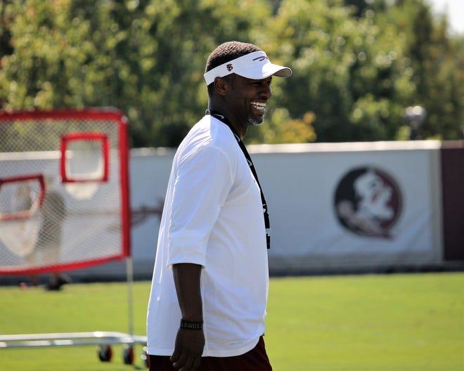 FSU head coach Willie Taggart at FSU practice during fall camp in 2018.
