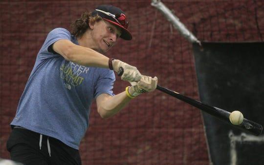 TLBR 15U's Landon Shackelford practices prior to a World Series trip to Washington state.