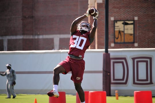 FSU CB A.J. Lytton working through drills during FSU football practice in 2018.