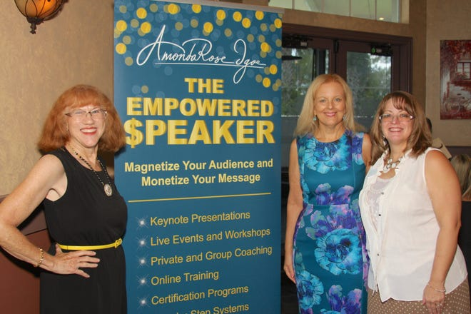 From left are Port St. Lucie Business Women Program Chair Dorothy Kamm, guest speaker AmondaRose Igoe, and Business Women President Tammy Crandell.