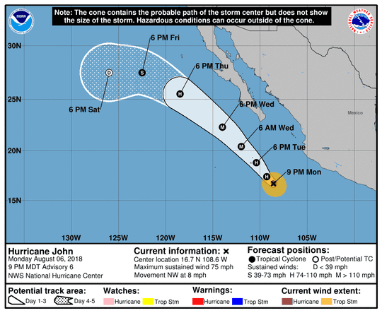 Projected path of Hurricane John as of 11 p.m. Monday, Aug. 6, 2018.